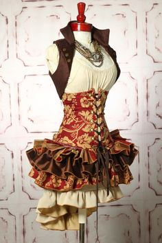 Brown cropped vest.  Red w/dark ivory leaves wench(?) Red and brown tierany skirt.  Ivory stagecoach skirt/