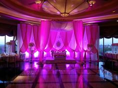 Fabric Mandap with floral. Pink and white. Reception, wedding reception decor, head table decor