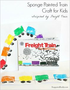 Here's a simple train craft for kids inspired by the book, Freight Train by Donald Crews. This sponge painted train is perfect for toddlers, preschoolers, and kindergarteners! Trains Preschool, Transportation Theme Preschool, Preschool Books, Preschool Art Projects, Preschool Crafts, Kids Crafts, Kindergarten Projects, Train Activities, Preschool Activities