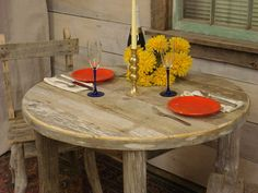 Driftwood Dining Table 42 Round x 29H Custom by DriftwoodTreasures
