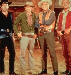 Bonanza Pernell Roberts (Adam), Michael Landon (Joe), Lorne Green (Ben), Dan Blocker (Hoss) A good reference of what colors they wore. 60s Tv Shows, Old Shows, Movies And Tv Shows, Bonanza Tv Show, Michael Landon, The Lone Ranger, Tv Westerns, Tv Episodes, Vintage Tv