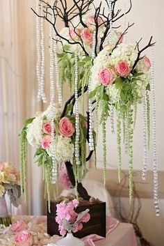 Spring Summer Brown Green Pink White Centerpiece - buy those hanging decorations at Christmas! Manzanita Centerpiece, White Centerpiece, Floral Centerpieces, Wedding Centerpieces, Floral Arrangements, Wedding Decorations, Wedding Arrangements, Tree Wedding, Wedding Table