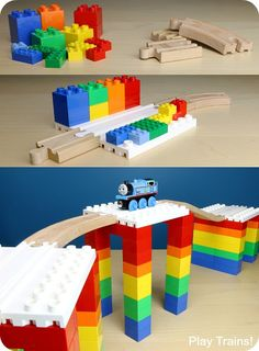 Parents' Guide to Building with Dreamup Toys Wooden Railway Block Platforms -- how to combine your child's wooden train track and DUPLO, LEGO, or other interlocking building blocks! Lego Duplo, Train Table, Lego Trains, Wooden Train, Train Tracks, Diy Toys, Cool Toys, Legos, Kids Playing