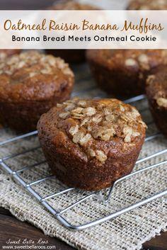 LOW SUGAR - Oatmeal Raisin Banana Muffins- tastes like banana bread + oatmeal cookies!
