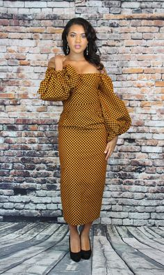 Fitted with exaggerated sleeves makes our Chasity dress a sexy, african print standout number. African Shirt Dress, African Wear Dresses, Latest African Fashion Dresses, African Print Fashion, Africa Fashion, African Attire, Women's Fashion, Modern African Print Dresses, Beautiful Maxi Dresses