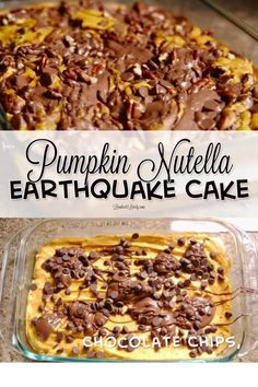 This Earthquake Cake recipe combines the flavors of pumpkin, Nutella, pecans, and chocolate. This looks like such a delicious and easy recipe! Easy No Bake Desserts, Party Desserts, Mini Desserts, Low Carb Desserts, Just Desserts, Low Carb Recipes, Oreo Dessert, Cheesecake Desserts, Desert Recipes
