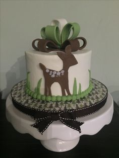 Brown and green deer smash cake
