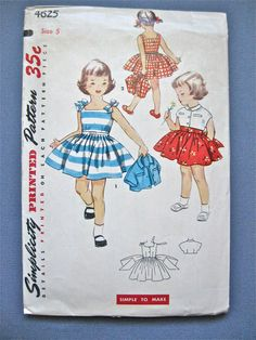 Vintage 1950s Pattern Simplicity 4625 for girls dress by Fancywork