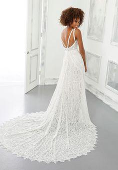 A-line lace wedding dress with sleeveless bodice and v-neck neckline. Mori Lee Wedding Dress, Bridal Wedding Dresses, Wedding Dress Styles, Designer Wedding Dresses, Lace Wedding, Moon Wedding, Wedding Attire, Dream Wedding, Pure Couture