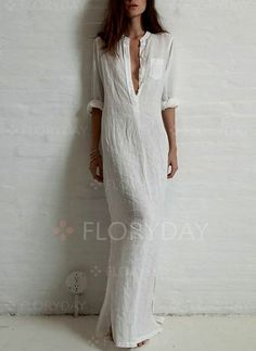 Dresses - $39.99 - Cotton Solid 3/4 Sleeves Maxi Casual Dresses (1955109623)