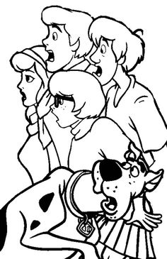 Scooby Doo Coloring Pages Free | Scooby-Doo, : The Scooby-Doo Team are Shocking Coloring Page