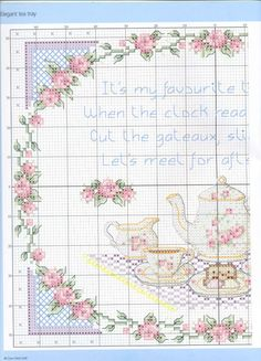 Afternoon tea for two - 3 of 5 Cross Stitch Quotes, Cross Stitch Boards, Just Cross Stitch, Cross Stitch Art, Cross Stitch Flowers, Cross Stitching, Cross Stitch Embroidery, Embroidery Patterns, Cross Stitch Patterns