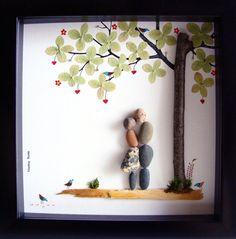 Guijarro de arte regalo para regalo aniversario regalo - compromiso único regalo - boda regalo - amor guijarro regalos arte de pareja - única pareja
