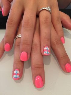 Pink with stripe and blue anchor accent nail