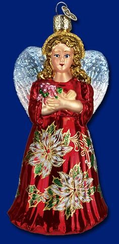 Red Poinsettia Angel,  Old World Christmas Glass Ornaments