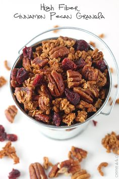 HIGH FIBER CINNAMON PECAN GRANOLA This healthy high-fiber granola is easy to make at home and so much cheaper and tastier that store-bought granola! It's a perfect addition to your breakfast routine or an afternoon snack! Healthy Afternoon Snacks, Healthy Snacks, Healthy Eating, Healthy Recipes, Healthy Granola Recipe, Crunchy Granola, Granola Bars, Healthy Sweets, High Fiber Snacks