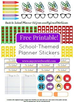 Free School-Themed Planner Stickers