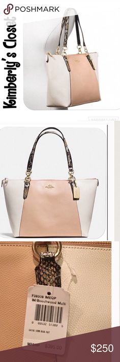 """🆕🛍COACH AVA TOTE🛍 💯% AUTHENTIC COACH AVA TOTE IN EXOTIC TRIM LEATHER.  Purse is tan color (beechwood) in the center both front and back and light cream color on the sides.  Handles are python embossed.  Inside zip, cell phone and multifunction pockets.  Gold tone hardware.  Zip closure, fabric lining Handles with 9 drop.  Measures 16.75"""" (L) x 10"""" (H) x 5 (deep).  Brand new with tags!  This bag is a classy, statement piece whose neutral colors look great with any outfit in any season…"""