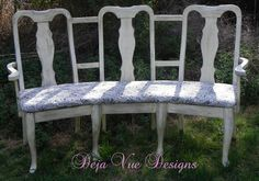 good use for old dining room chairs -- maybe use outdoor fabric so it could be used in the yard
