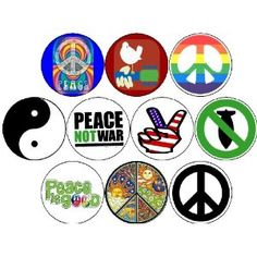 Pinback Buttons HIPPIES 60s WOODSTOCK Peace Signs Tie Dye