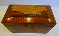Magnificent Antique Trinity House Tea Caddy In Amboyna c.1880