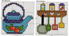 Teapot and spice rack with utensils cross stitch chart Tiny Cross Stitch, Xmas Cross Stitch, Cross Stitch Kitchen, Simple Cross Stitch, Cross Stitch Embroidery, Cross Stitch Patterns, Hobbies And Crafts, Tea Pots, Couture