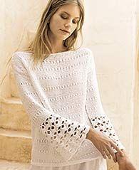 Kostenlose #Strickanleitung: Pullover mit Trompetenärmeln und Häkelmuster / free knit tutorial for longsleeve with crochet stiches via lanagrossa.de