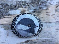 Painted Stone, Painted Rock, Bird Painting, Black-Capped Chickadee, Rock Painting, Stone Painting, Home Decor, Ornament, OneStonedBird