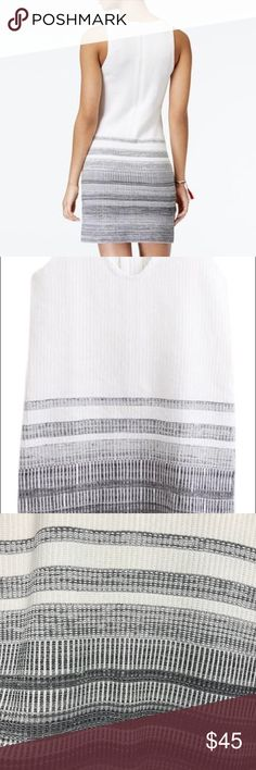Rachel Roy White Striped Textured Sweater Dress This form-fitting sweater dress from RACHEL Rachel Roy is a perfect pick for weekend jaunts. V-neckline. Zipper closure at back. Sleeveless. Allover texture; striped at skirt. Sheath silhouette. Slit at side. Hits above knee. Viscose/polyester. Hand wash.  * minor make up mark (pictured in last image) that may be washed off.  OG $109, purchased at $65, bought for a specific event... never wore it and months later... forgot to return it! RACHEL…