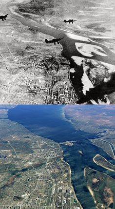 Stukas over Stalingrad, 1942.and the same aerial view today