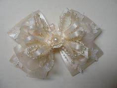 IVORY or White Satin Hair Bow Big Large Elegant by HareBizBows