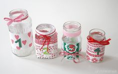 Luloveshandmade: DIY: Embellish jars for Advent candles.