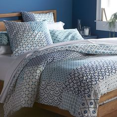 Sereno Blue Hand-Blocked Duvet Covers and Pillow Shams I Crate and Barrel