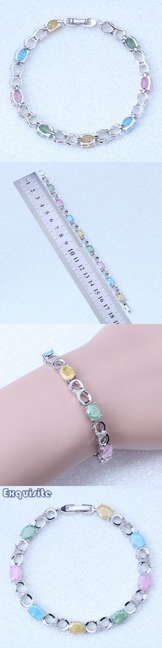 2017 New Products Multicolor Ice Crystal Stone Silver Color Charm Bracelets Fashion Jewelry For Women Party Wedding L0001
