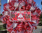 Deco Mesh Ohio State Buckeyes Wreath by DzinerDoorz on Etsy