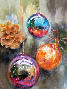 Christmas tree decorations holiday art original watercolor painting