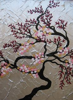 painting cherry blossom tree trees  large abstract art zen oriental black gray grey silver gold maroon pink Japanese look panels wall. $100.00, via Etsy.