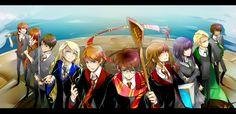 Hermione Granger, Luna Lovegood, Harry Potter, Draco Malfoy, Ron Weasley, George Weasley, Fred Weasley, Neville Longbottom, Pansy Parkinson, Blaise Zabini,