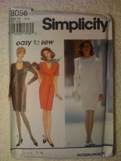 Simplicity 8056 Sewing Pattern 90s Misses and Miss by SplashOfLuv
