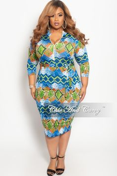 1f47cae9625 New Plus Size Zip-Up Dress with Attached Tie in Blue Red and Green Snake