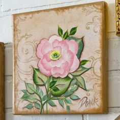 Click thru for the full how to on this pretty rose on canvas! #onestroke…