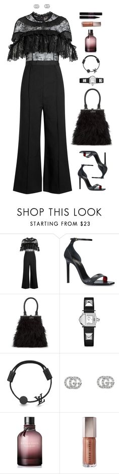 """""""Be twice as powerful as you think you are"""" by xoxomuty on Polyvore featuring self-portrait, Yves Saint Laurent, Perrin, Gucci, Bottega Veneta, Lancôme, ootd and polyvoreOOTD"""