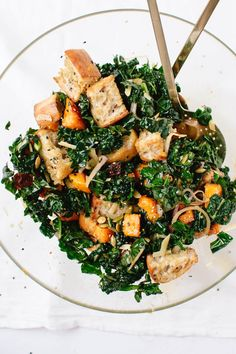 This winter panzanella salad features roasted butternut squash, kale, toasted croutons, cranberries and shallots tossed in homemade balsamic vinaigrette.