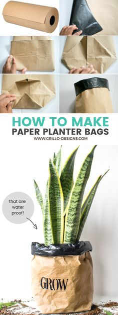 DIY paper planter bags - learn how to make a waterproof, durable planter bag using kraft or brown packing paper with this easy step by step tutorial - Grillo Designs