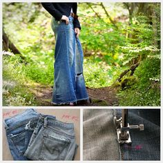 Trinkets in Bloom shows how to turn two pairs of old jeans into a denim maxi skirt. It doesn't matter if the jeans are a little worn out. In fact, the wear and tear on the jeans adds charac… Diy Maxi Skirt, Maxi Skirt Tutorial, Maxi Skirts, Jean Skirts, Denim Skirts, Diy Clothing, Sewing Clothes, Sewing Coat, Skirt Sewing