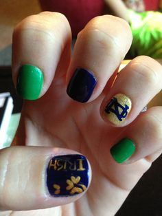 Notre Dame!!! I am sooo gonna get my nails done like this!!!!!!!