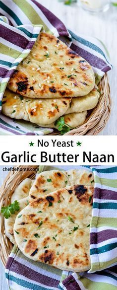 Instant Indian Garlic Naan Bread without yeast for an Easy Indian Dinner at Home   http://chefdehome.com