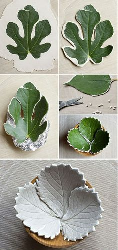 Leaf bowls from air dry clay.