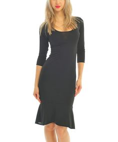 Another great find on #zulily! Black Three-Quarter Sleeve Dress by Zac Studio #zulilyfinds