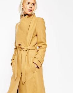 Image 3 ofASOS TALL Coat With Funnel Neck And Belt